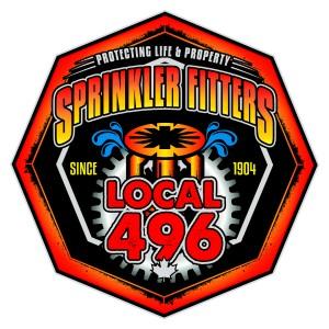 Local 496 Sprinkler Fitters Logo on White